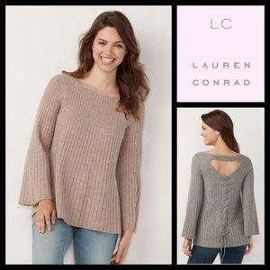 Lauren Conrad Laceup Back Swing Dune Sweater NWT
